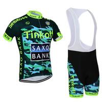 al por mayor jersey de la bici del ejército-Saxo Bank Ciclismo de verano Jersey establece el mejor ejército verde Tinkoff equipo Bikes Suit Ropa Ciclismo humedad-wicking Racing ropa acolchado Bib Pants