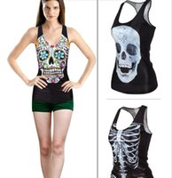 Wholesale The new star women vest Europe and the United States fashion cute hip hop skeleton render unlined upper garment
