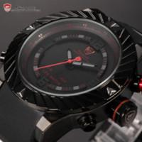 achat en gros de dent quartz-Nouvelle marque Shark Sport Watch Tooth Racing 3ATM numérique étanche Silicone Strap Noir Rouge Mode Hommes Casual Wristwatch / SH166