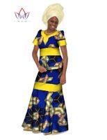 Wholesale Casual Skirt Designs For Women - Autumn 2016 New Designs Women Dresses for Women 2 Piece Set Short Sleeve Dashiki Women Dress Long Skirt Mermaid Dress BRW WY061