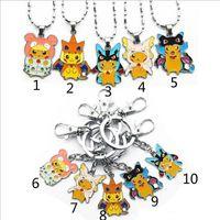 Wholesale Poke pokémon go Metal Keychain necklace toys Style DHL Children Zinic Alloy Poke Ball Pikachu Charmander Bulbasaur keyring