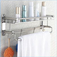Wholesale stainless steel bath shelves with towel bar Multifunctional modern wall mounted bathroom shelving J15295