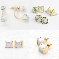 Wholesale Fashion Styles White Turquoise Stud Earrings Brand Faux Stone Earrings With Triangle Square Round For Women Jewelry Accessories XX713
