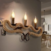 Wholesale Vintage Rope Wall Lights Horns Shape Bedroom Bedside Wall Socnces Light Fixtures Home Decorative Luminaire Light Fixtues Lamps