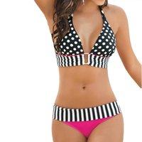 Wholesale Striped Print Brazilian Bikinis Women Swimwear Vintage Bandage Swimsuits Push Up Bathing Suit Bikini Set Maillot De Bain