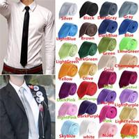 Wholesale Fashion Men Women Skinny Solid Color Plain Satin Polyester silk Tie Necktie Neck Ties colors cmx145cm