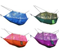 Cheap Double Hammock With Mosquito Net Camping Swing Bed Survival Mosquito Net Hammock Parachute Cloth Portable HAMMOCK 260*140 CM