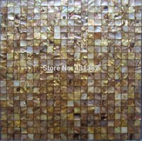 Wholesale 2016 style HYRX river seaflower dye gold color shell mosaic Seamless Factory direct sale decoration Material