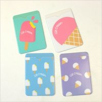 bank stationery - Fresh Ice Cream Cartoon Double Layer Silicone PVC Card Cover Bus Bank Id Card Case Holder Stationery