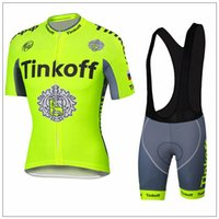 Wholesale Tour De France Tinkoff Saxo Bank Cycling Jerseys Quick Dry Short Sleeves Bike Wear size XS XL Bicyle Clothes White Bib Fluo Color