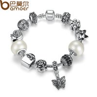 amps settings - Bamoer TOP Quality Friendship Bracelets amp Bangles with White Glass Bead Butterfly Female Bead Bracelet Jewelry GA1479