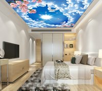 bedroom hair - Custom Wall Stickers Blue Sky D Non woven Wallpaper Bedroom Living Room Hotel Restaurant Applicable Mall Shipping Speed Hair