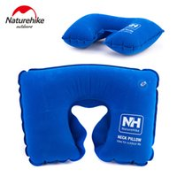 Wholesale NH High Quality Outdoor Travel Inflatable Pillow U Type Super Light Weight Neck Protecting Flocking Fabric Camping Noon Break