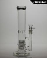 Revisiones Aparejo de jaula-26cm Bongs de cristal altos Twin Cage Percoladores de matriz Junior Aceite de vidrio Rigs 5 mm de espesor de vidrio fumar tubo de agua de tamaño de la junta 14,4 mm PG101