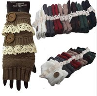 Wholesale Fashion knitted lace Fingerless Gloves colours keep warm Christmas hollow button glove hot new style