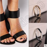 Wholesale 1000pcs CCA4339 High Quality Women Toe Ring Celebrity Vintage Simple Sandal Band Ring Gold Silver Plated Adjustable Foot Jewelry Beach Style