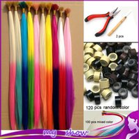 ball pliers - gradient color feather hair multicolour hair i tip extensions ball hair extension100pcs Beads Hook plier kit