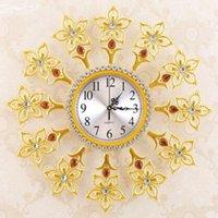 Wholesale 1 living room wall clock bedroom quiet beautiful lily wall clock creative nature quartz clock
