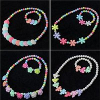 Wholesale 2016 new Korean jewelry Children Necklace Set Lovely sweet girls princess Necklace Bracelet Christmas gifts baby hair accessories