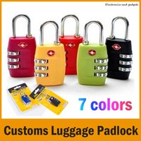 Wholesale 7 Colors Customs Luggage Padlock TSA338 Resettable Digit Combination Padlock Suitcase Travel Lock TSA locks