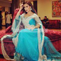 Cheap 2016 Elegant Kaftan Abaya Arabic Evening Dresses v neck long sleees Beaded lace Appliques Long Formal Gowns Dubai Muslim Prom Dresses