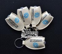 Wholesale Free Print LOGO LED Keychains Advertising Promotion Gift Lights Keyrings PU leather keyring keychain