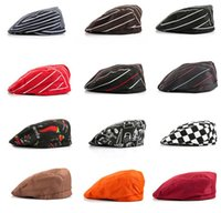 Wholesale Cafe Attendant Hat Men s and Women s Black and white plaid Striped Chef Beret Hat