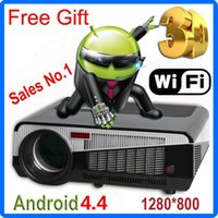 Wholesale 5500 Lux Android Projector WiFi Smart Led86 D Home Theater TV LCD Projectors Full HD P Advertising Education