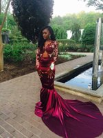 african dance pictures - 2016 latest female Sexy African Mermaid Burgundy Prom Dresses Long Sleeves Lace Appliques Evening Dresses for dancing party Custom Made