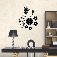 Wholesale 3D Wall Clocks Unique Butterfly and Flowers Design Mirror Face Wall Clock Home Office Decoration Needle DIY Wall Clocks