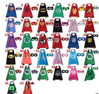 Wholesale Double side kids Superhero Capes and masks Batman Spiderman Ninja Turtles Flash Supergirl Stage Performance Robin for kids capes with masks