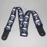 Wholesale New White Skull on blue print Genuine leather ends Adjustable Acoustic Guitar Strap bass Christmas gift