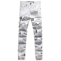 Long american dj lights - New Original Design Top Quality Men s Galliano Slim Jeans Punk Rock Nightclub DS DJ Newspaper printed pattern Jeans Hairstylist beggar pants