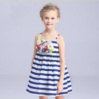 Wholesale 2016 New Girls Dresses Children s clothes girls summer dress Cuhk child stripe cotton cloth princess dress in summer