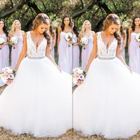 Wholesale 2017 Country Style Wedding Dresses Sexy Deep V neck Tulle And Lace A line Bridal Gowns With Sash Designer Princess Vestido De Noivas