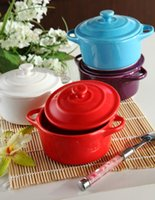 Wholesale porcelain two handled pot bakery boiler colorful pot ML good quality suitable for microwave oven
