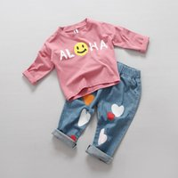 Wholesale INS unisex baby boys girls soft cotton jeans love heart pattern kids autumn full length pants Y