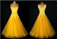 ballroom standard - Custom Made Rhinestone Yellow Ballroom Dance Dress Lady Dress Ballroom Standard Dance Women Viennese Waltz Dress Dancewear Dress