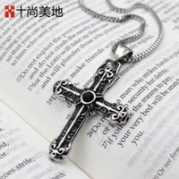 american flag texture - Ten is the flag of St Meidi titanium Cross Necklace and Retro Old low key fashion texture