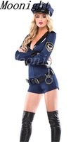 Wholesale Adult Sexy Lingerie cosplay Police Cop Uniform Costume Outfit Hat belt Handcuffs Sets Halloween Partywear