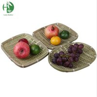 Wholesale Handmade bamboo fruit storage basket table kitchen gadgets vegetable storage container fruit tray and plate household organizer