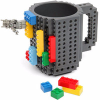 Wholesale 2016 Creative DIY Build on Brick Mugs Build On Brick Mug Lego Type Building Blocks Coffee Cup DIY Block Puzzle Mug