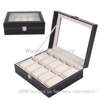Wholesale 2016 new Grids slots PU leather Wood Board watch display case grid watch display box storage box watch case rangement bijoux