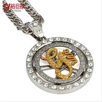 american units - Ultra textured alloy gold hip hop for men rotating G Unit American band tide brand necklace jewelry fashion trendsetter essential
