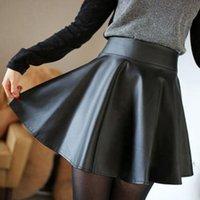 Wholesale Hot Marketing Fashion Women Faux Leather High Waist Skater Flared Pleated Short Mini Skirt Jul14