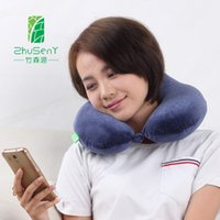 Wholesale High Back U shape bamboo charcoal memory pillow upgraded version memory foam full protect neck and vertebra soft and health travel