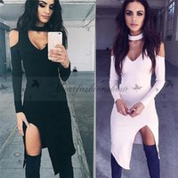 Wholesale Fashion Deep V Neck Split Elegant Autumn Dress Off The Shoulder Halter Solid Long Sleeve Sexy Club Party Dress M154