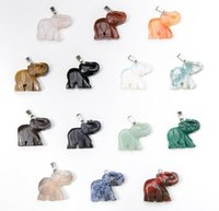 Wholesale Natural Quartz Gemstone Elephant Natural Stone Pendant Bead For Necklaces Women Jade Jewelry