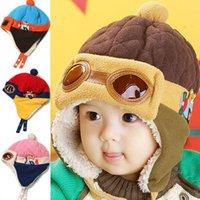 Wholesale Autumn and winter plus thick velvet children s glasses flying cap hat baby winter hats ear cap baby hat g