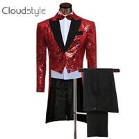 Precio de Rojo corbatas de lentejuelas hombres-Venta al por mayor por encargo para hombre-Rojas Traje Trajes de lentejuelas de chaqueta y pantalones formales del vestido de los hombres trajes de etiqueta trajes sistema del juego de los hombres de la boda del novio (jacket + pants + tie))